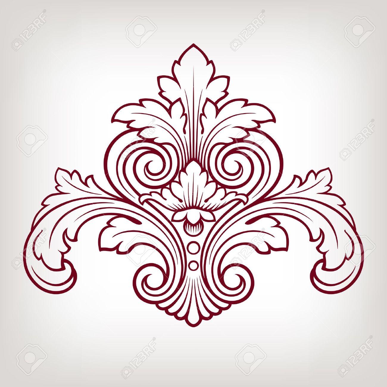 vector vintage baroque damask design frame pattern element engraving retro style