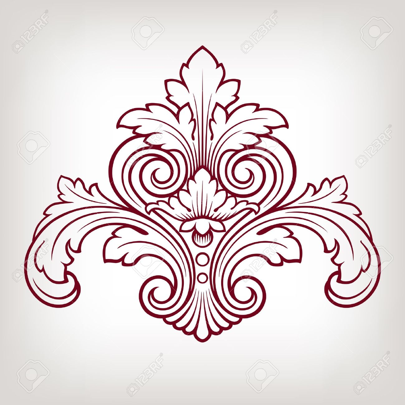 vintage baroque damask design frame pattern element engraving