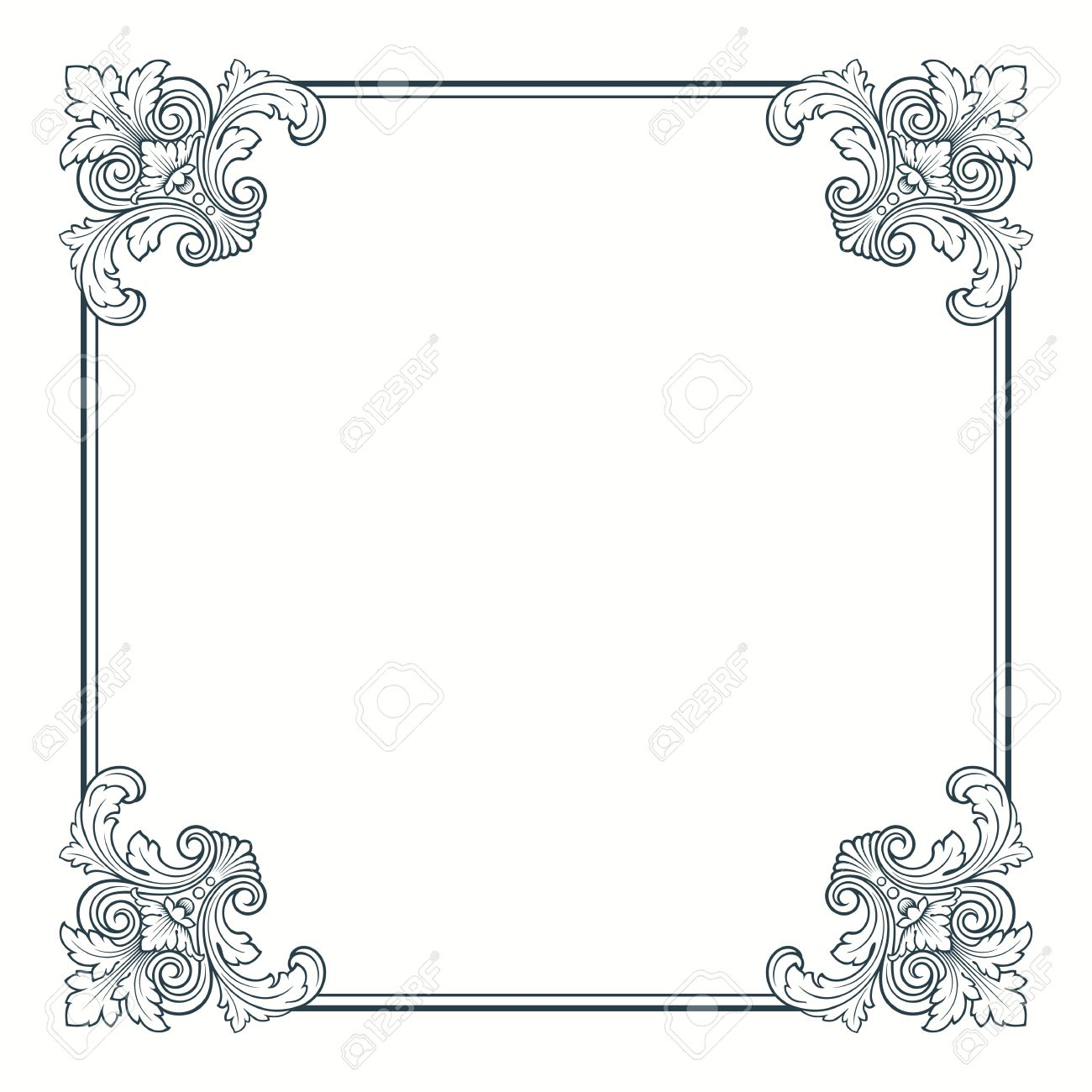 Calligraphic Ornate Vintage Frame Border Decorative Design Stock Vector