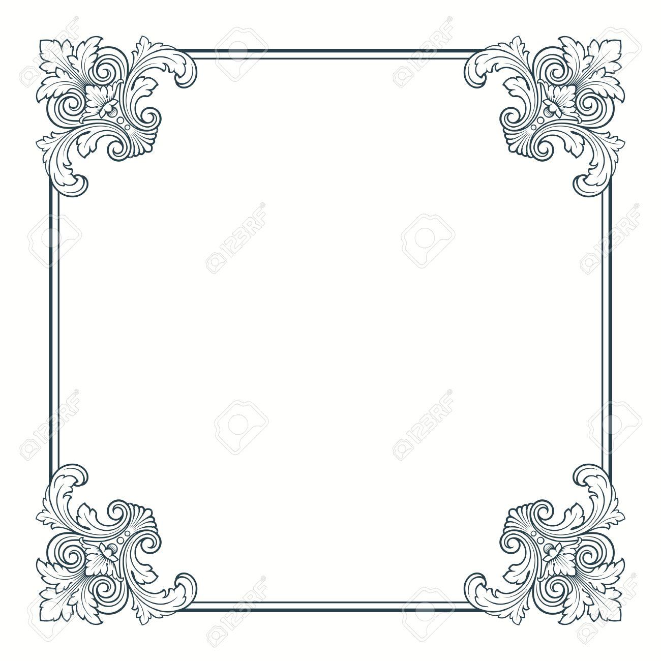 calligraphic ornate vintage frame border decorative design - 13708471