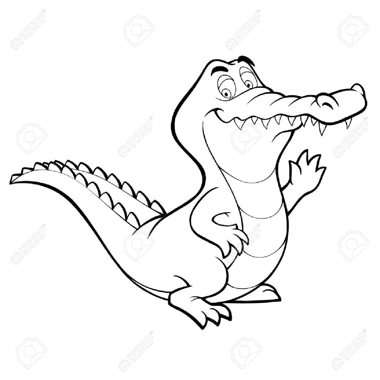 crocodile cartoon alligator line art coloring book black and royalty free cliparts vectors and stock illustration image 13842511 crocodile cartoon alligator line art coloring book black and