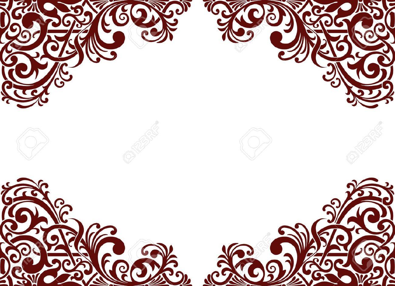 vintage baroque border frame card background flower motif arabic retro pattern ornate Stock Vector - 14507287
