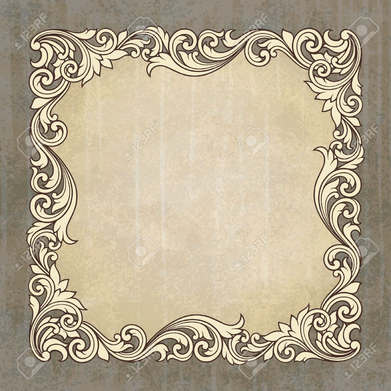vintage border frame engraving at grunge background with retro ornament pattern in antique baroque style decorative design invitation card - 14667018