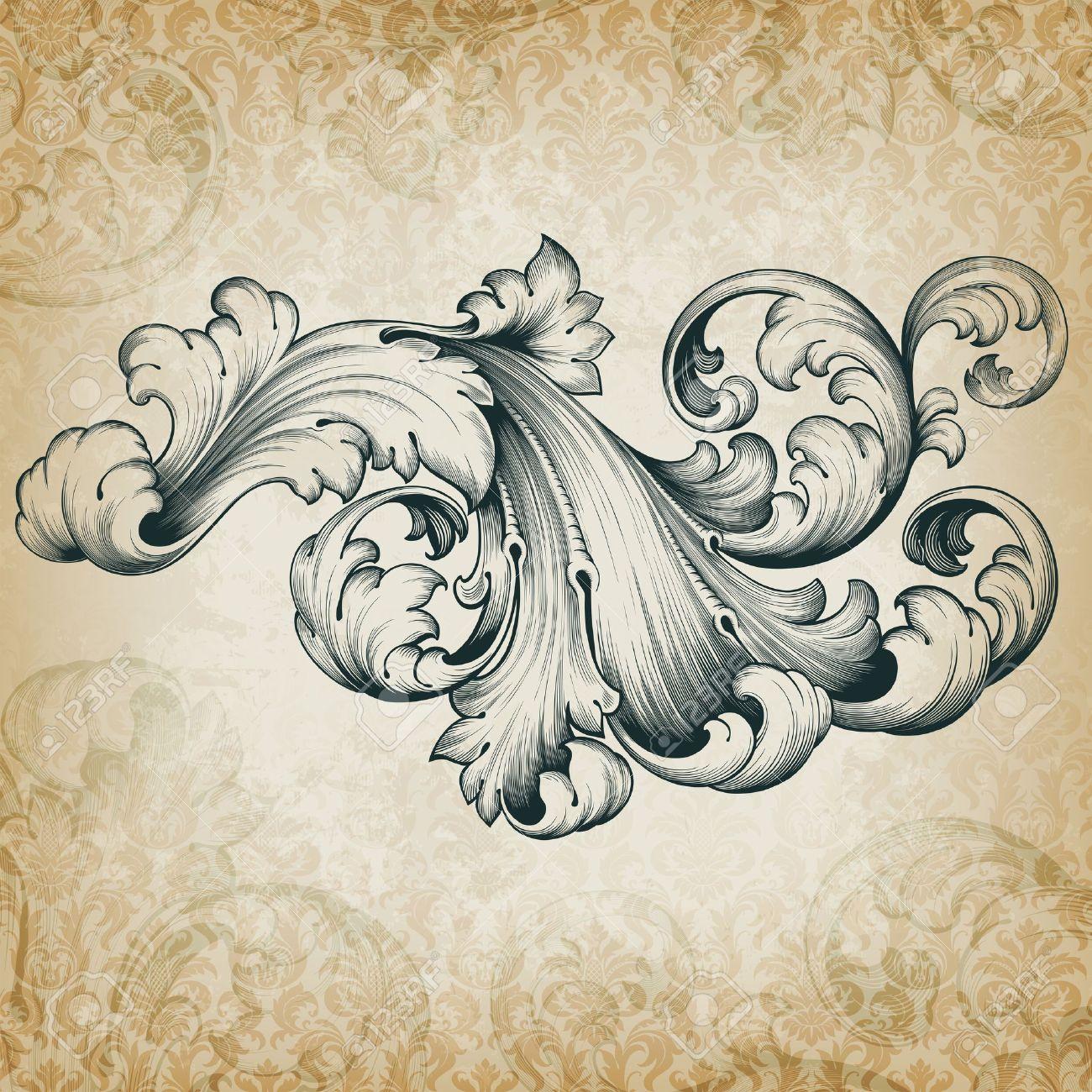 vintage baroque engraving floral scroll filigree design frame border acanthus pattern element at retro grunge damask background - 15662165