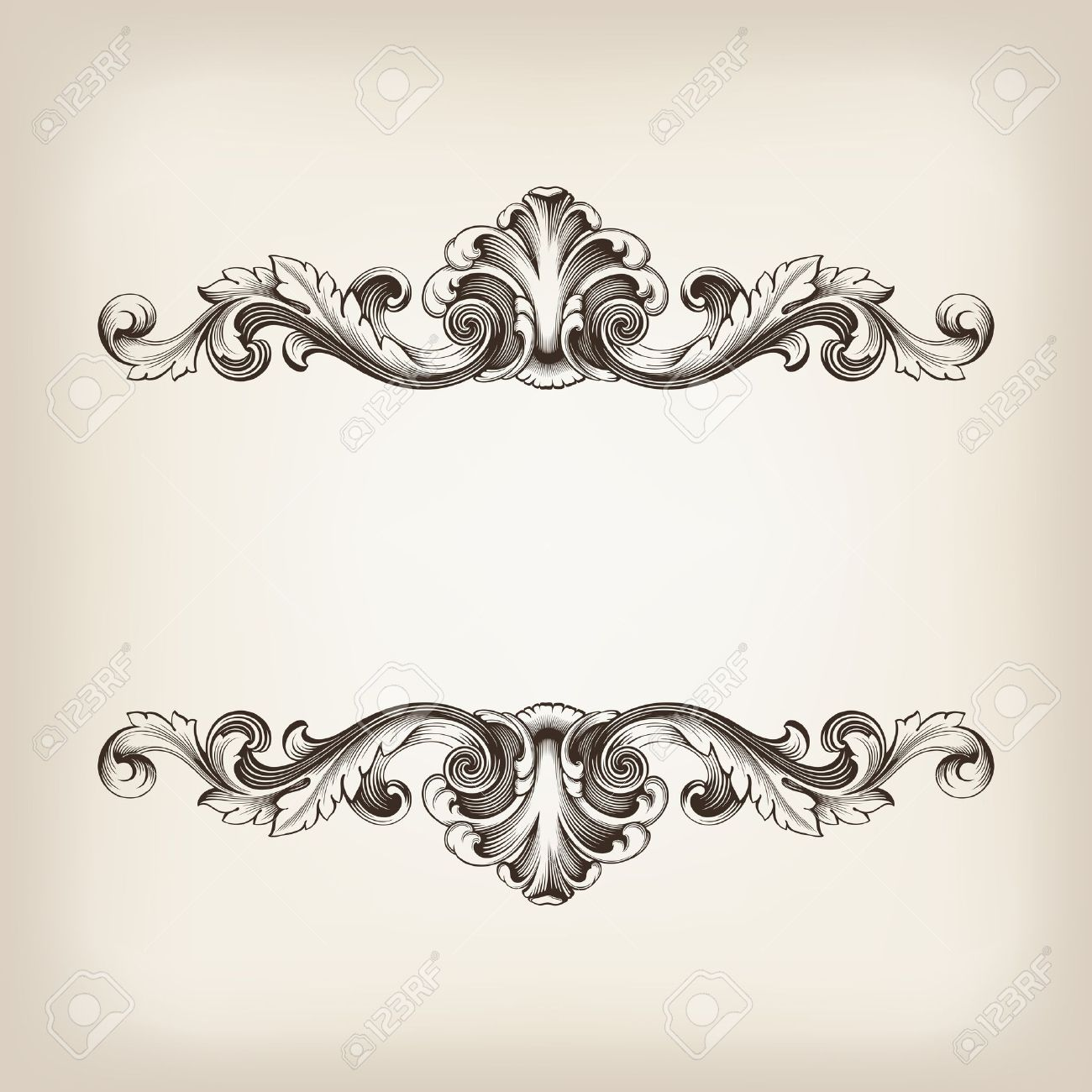 vintage border frame filigree engraving with retro ornament pattern in antique baroque style ornate decorative antique calligraphy design - 17117031
