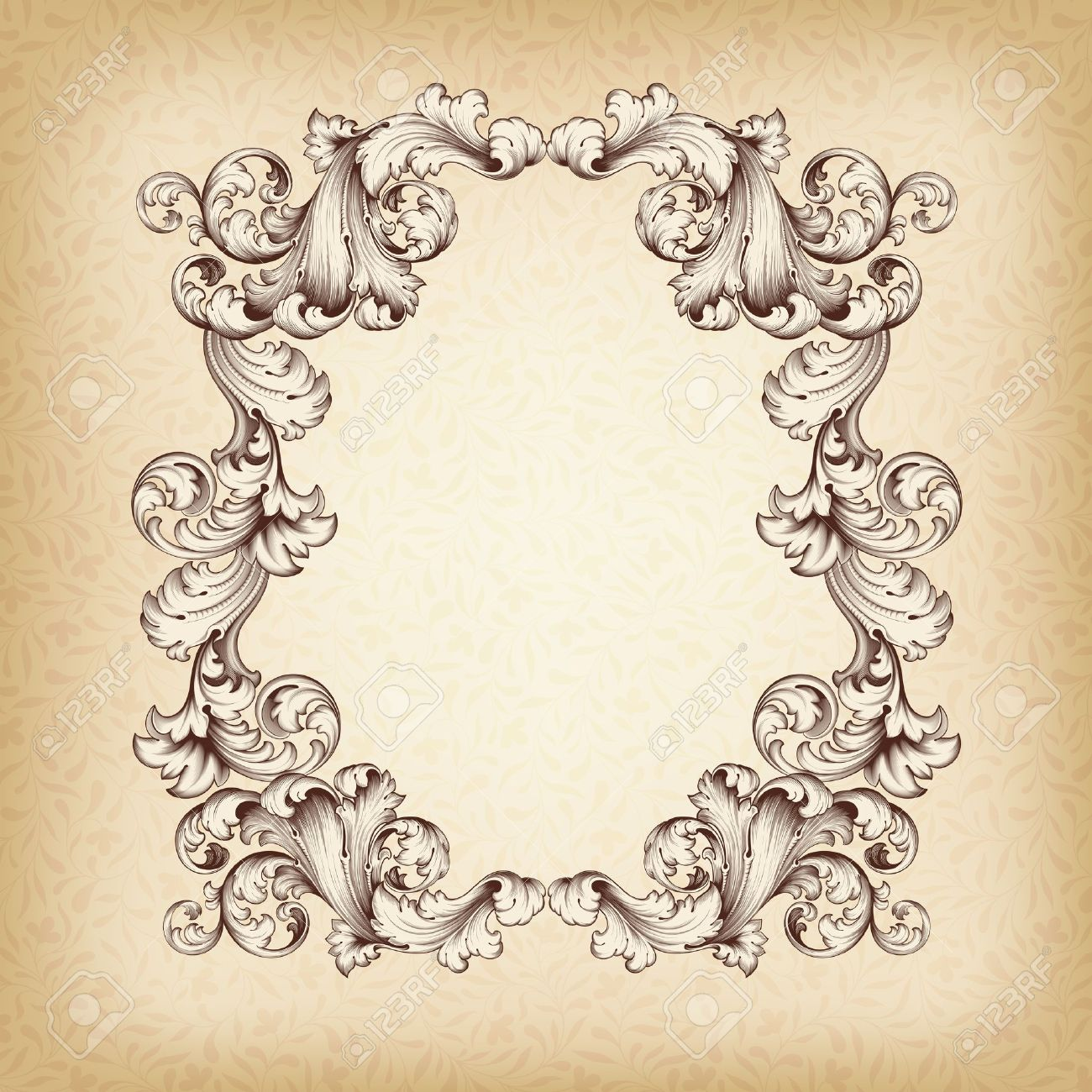 vintage border frame engraving with retro ornament pattern in antique baroque style decorative design - 18881965