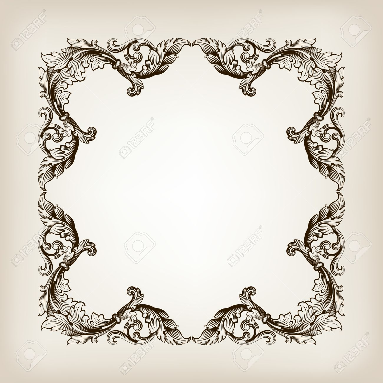 vintage border frame filigree engraving with retro ornament pattern - 20190916