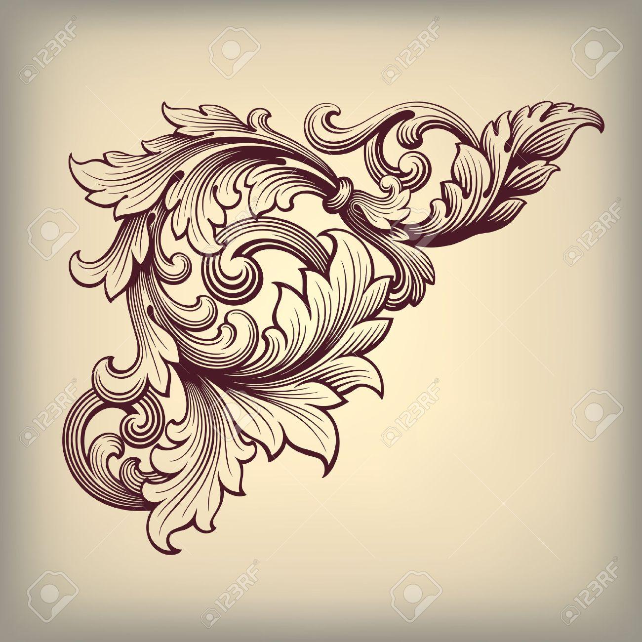 vector vector vintage baroque scroll design frame corner pattern element engraving retro style ornament