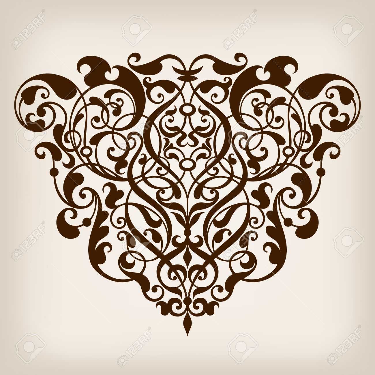 vector vintage Baroque scroll design frame border corner pattern element engraving retro style ornament - 27035834
