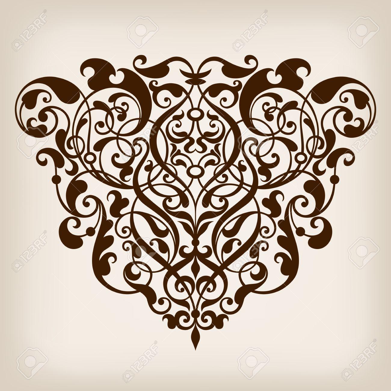 vector vector vintage baroque scroll design frame border corner pattern element engraving retro style ornament