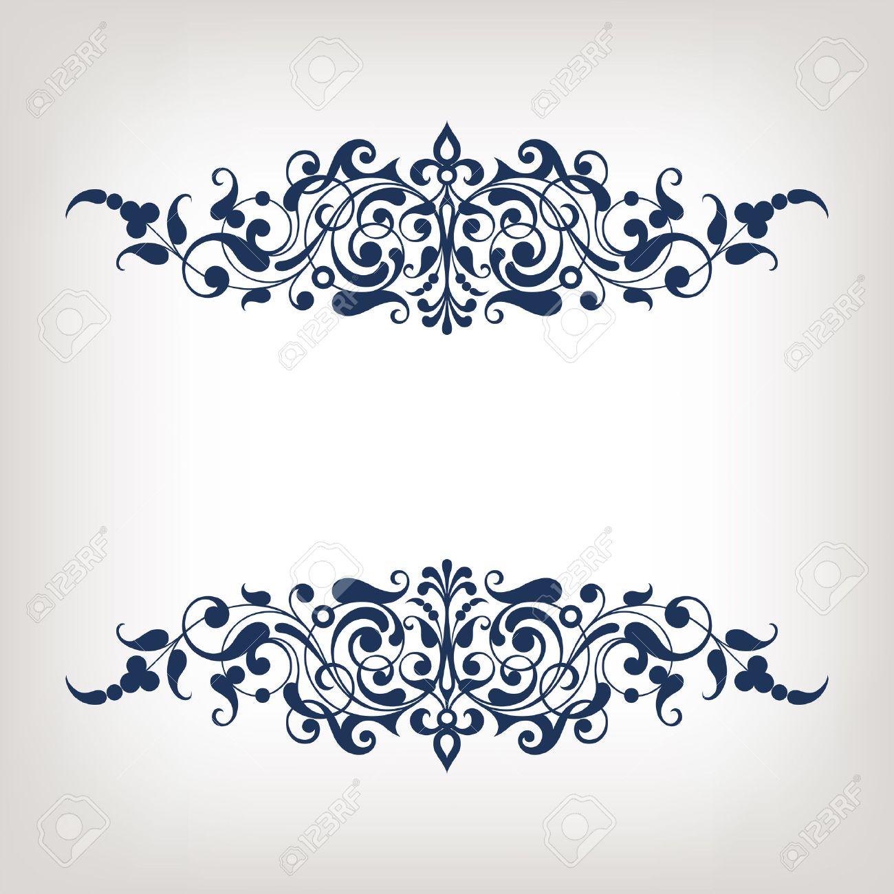 vector vintage ornate border frame filigree with retro ornament pattern in antique baroque style arabic decorative calligraphy design - 27560756