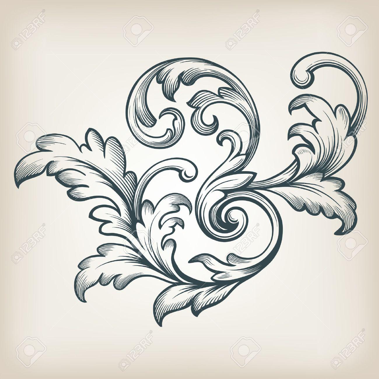 vintage Baroque scroll design frame engraving acanthus floral border pattern element retro style filigree vector - 32881590
