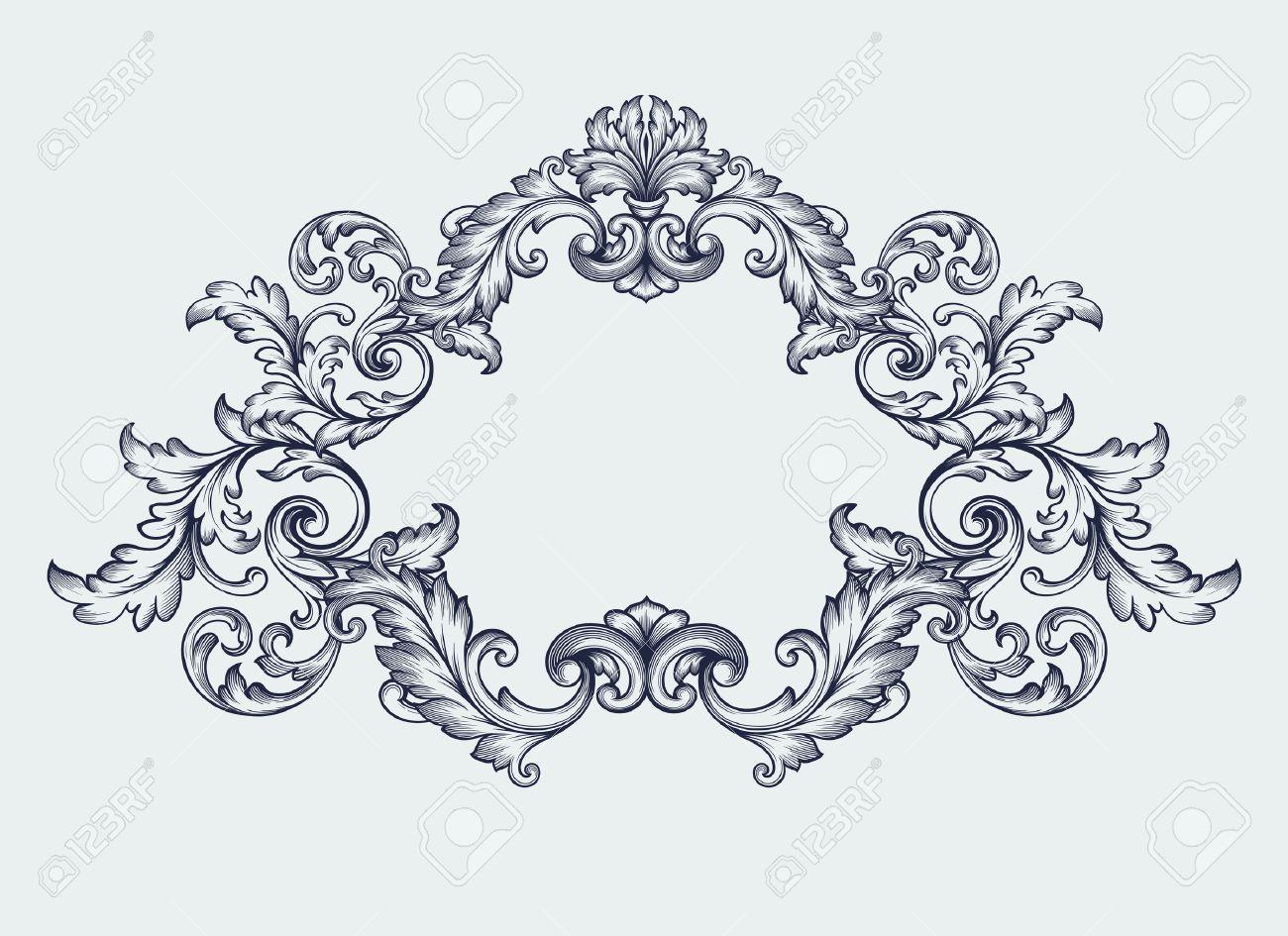 vector vintage baroque scroll design frame