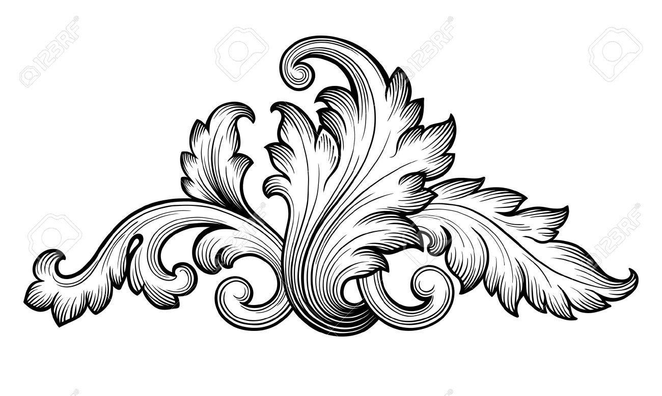 Vintage baroque floral scroll foliage ornament filigree engraving retro style design element vector - 35857740