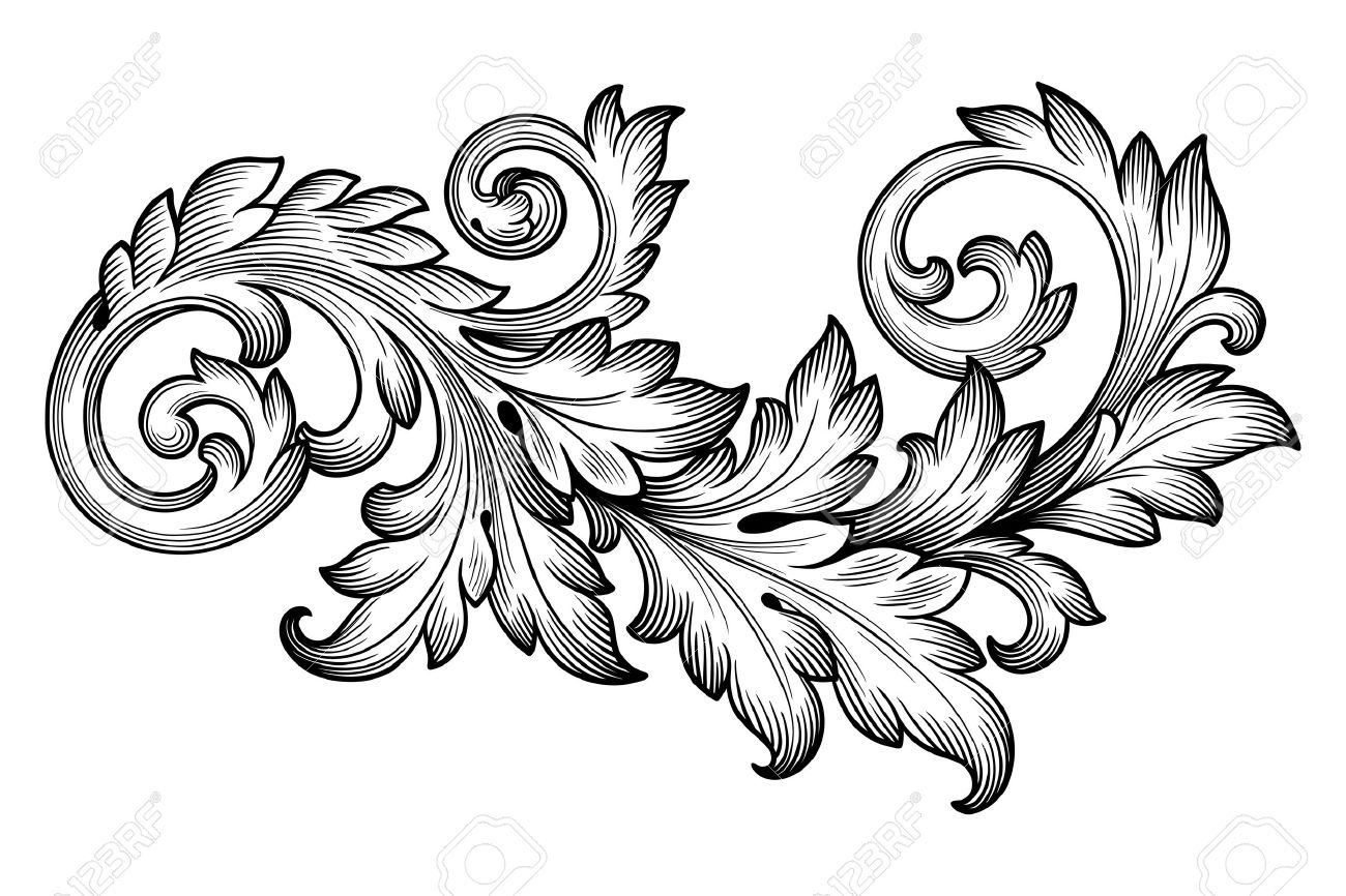 Alte Barocke Rahmen Scroll Ornament Gravur Grenze Floral Retro