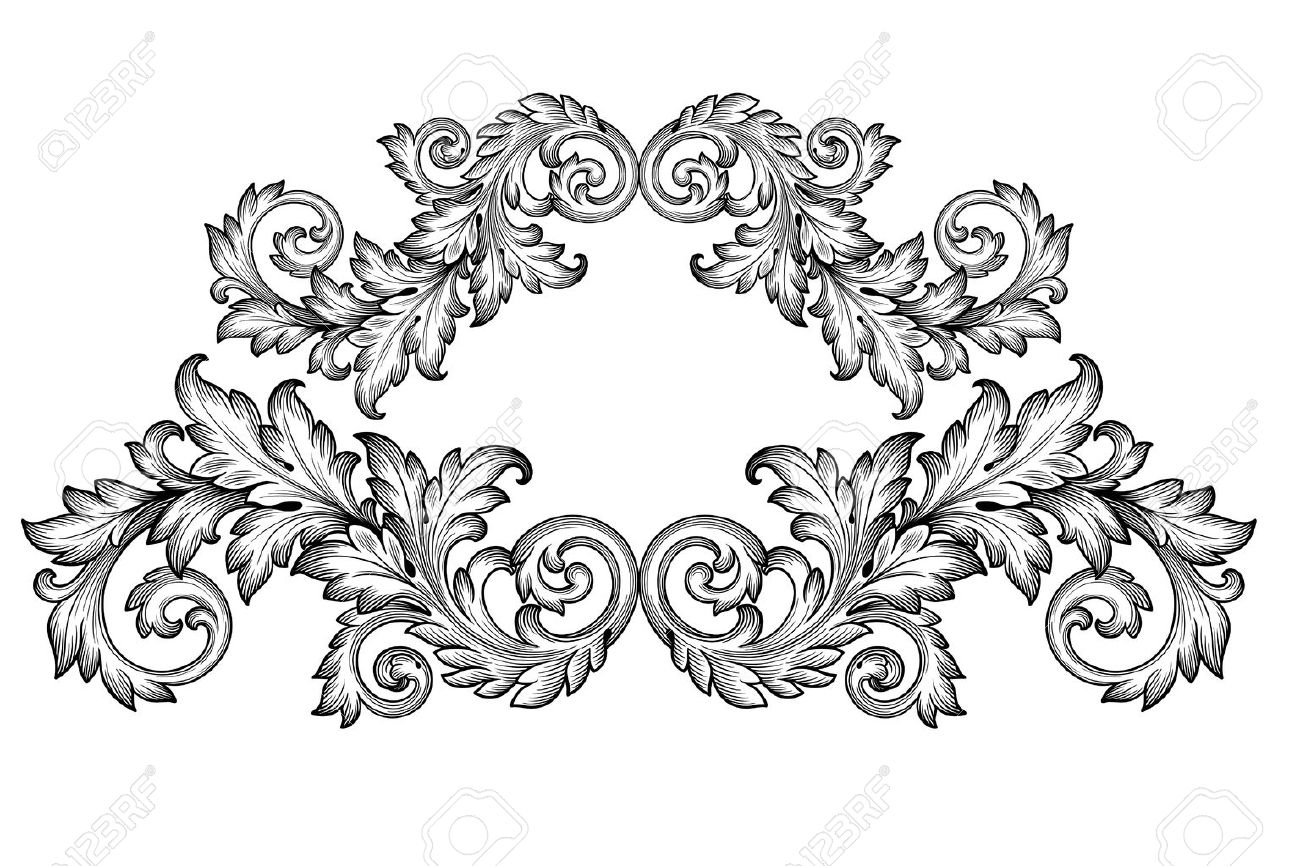 Vintage baroque frame scroll ornament engraving border floral retro pattern antique style acanthus foliage swirl decorative design element filigree calligraphy vector - 35857742