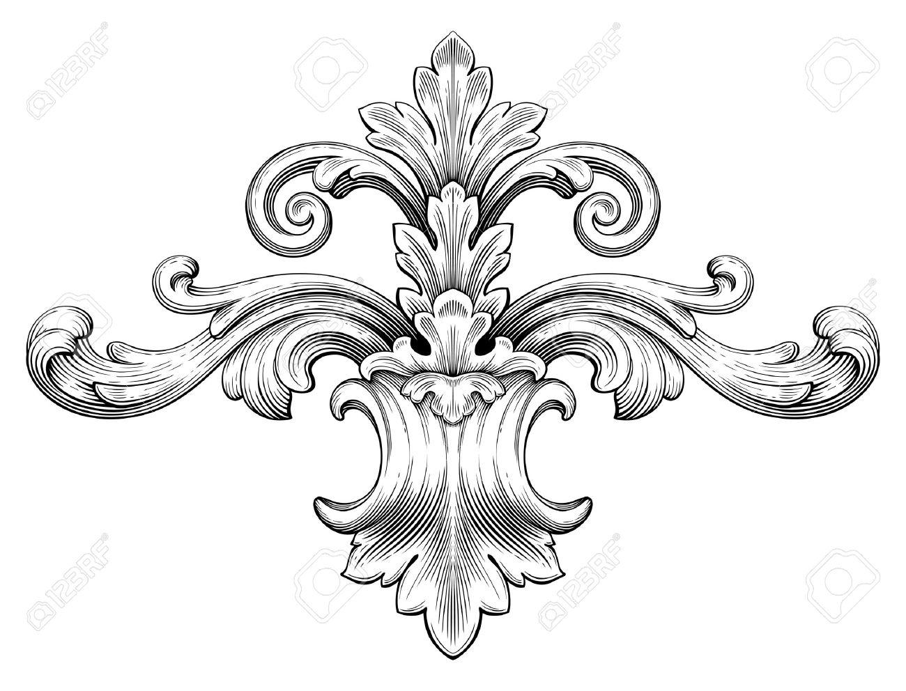 Vintage baroque frame leaf scroll floral ornament engraving border retro pattern antique style swirl decorative design element black and white filigree vector - 36203984