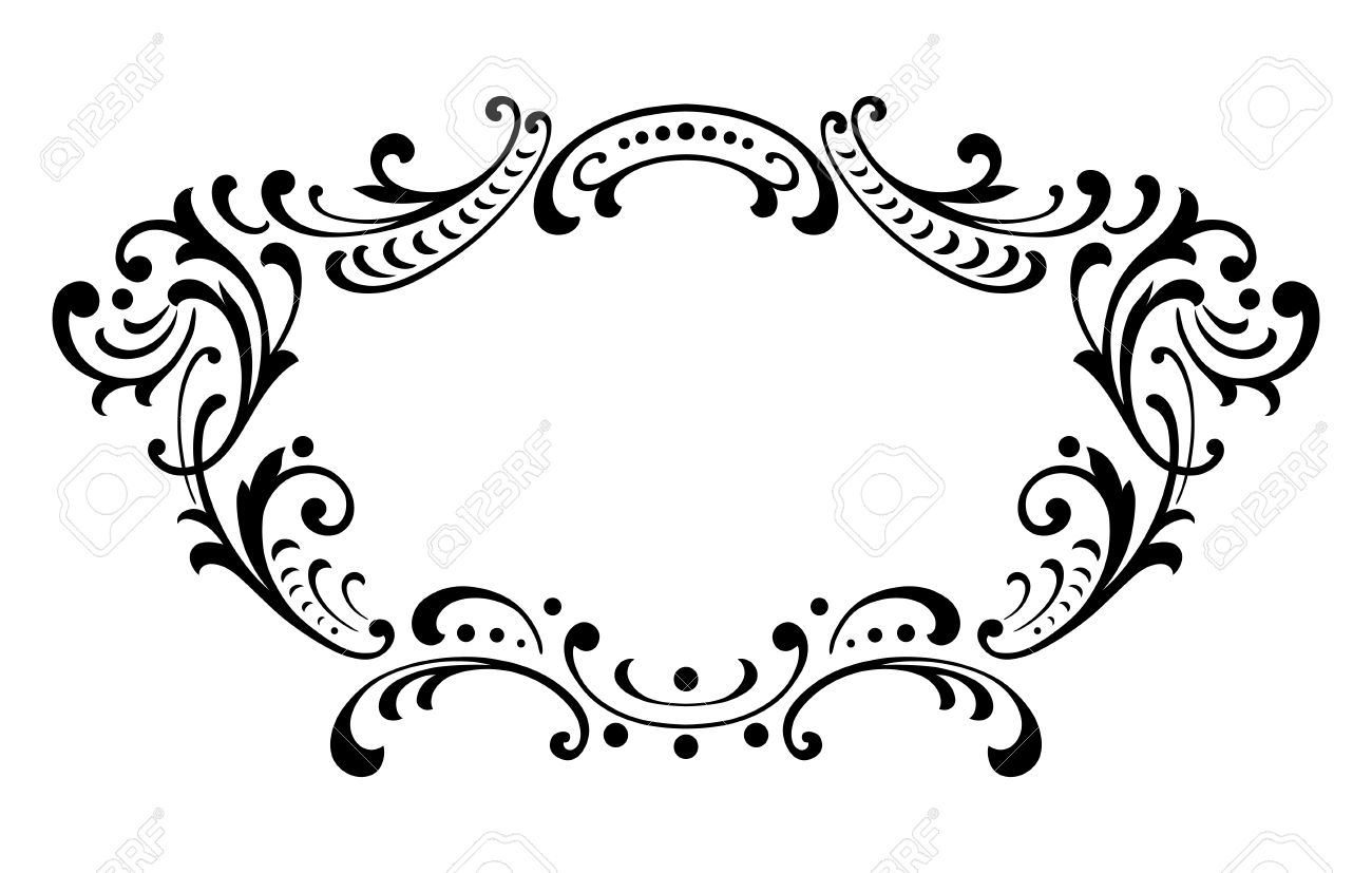 vintage baroque frame leaf scroll floral ornament engraving border