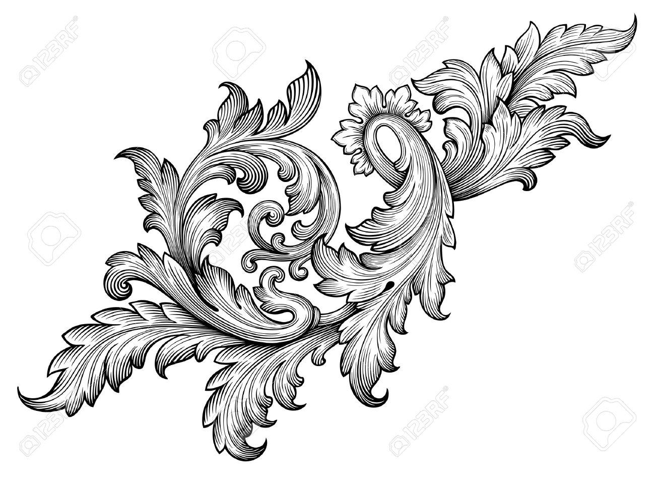 Vintage baroque frame leaf scroll floral ornament engraving border..