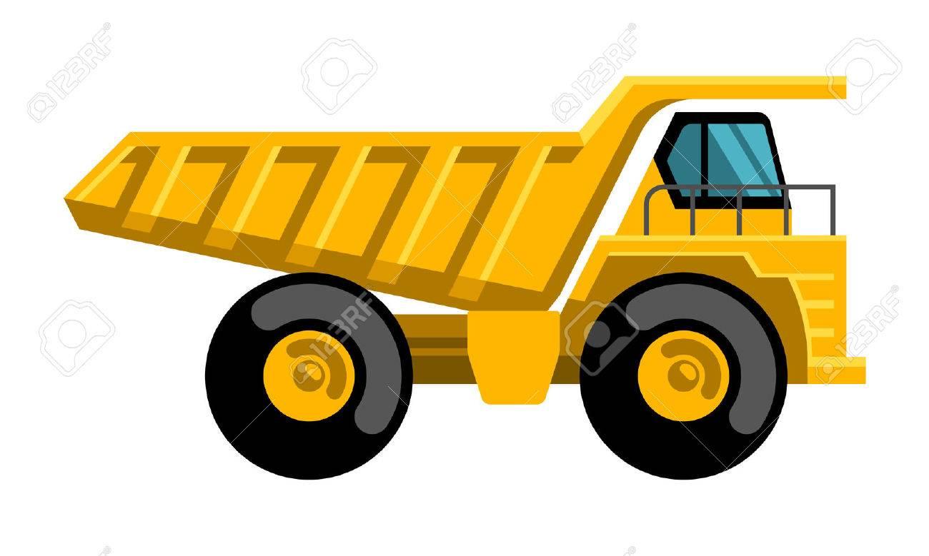 Mining dump truck tipper big heavy yellow car flat design vector icon - 37604994