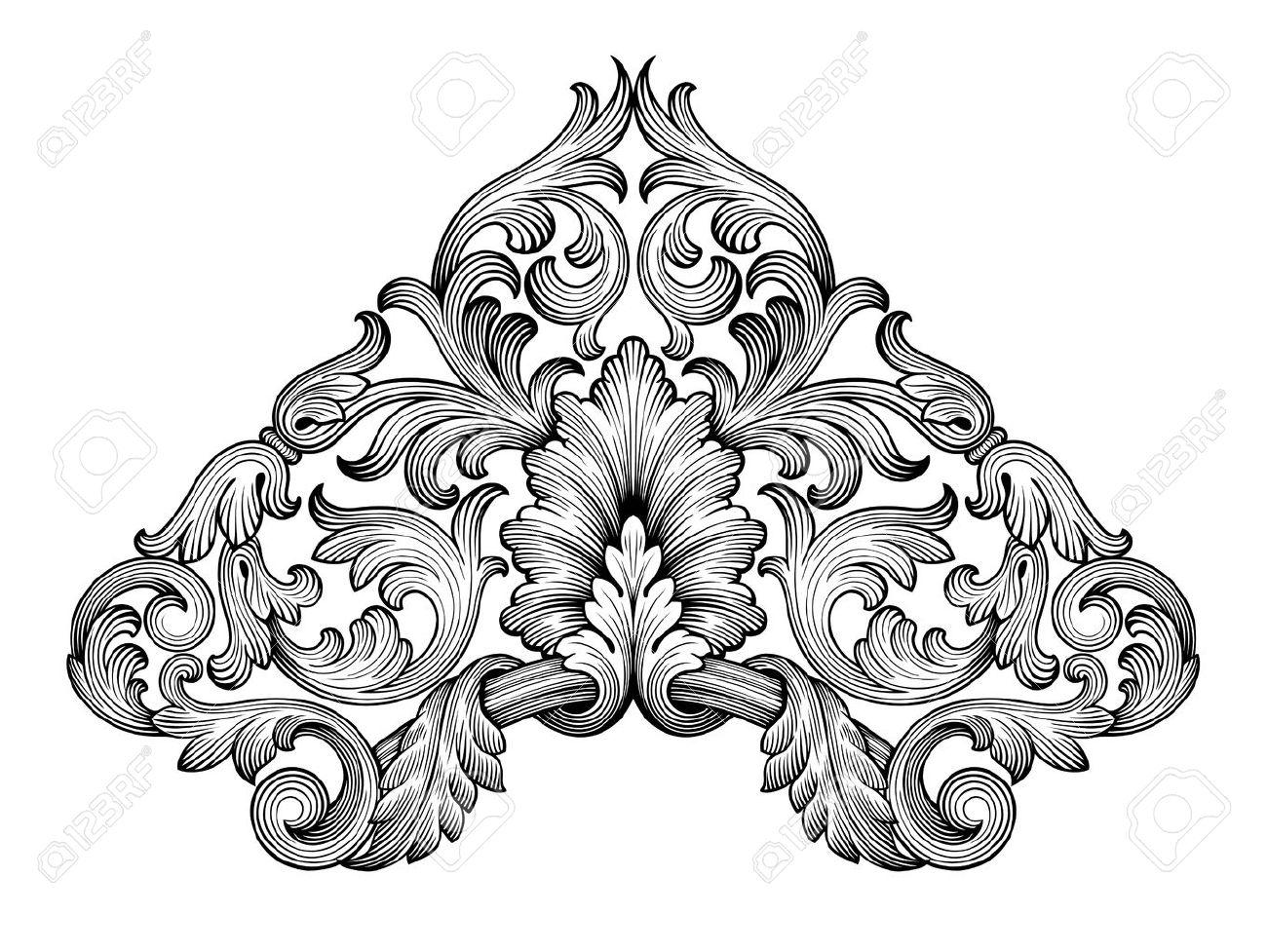vintage baroque frame corner leaf scroll floral ornament engraving royalty free cliparts vectors and stock illustration image 38656307 vintage baroque frame corner leaf scroll floral ornament engraving