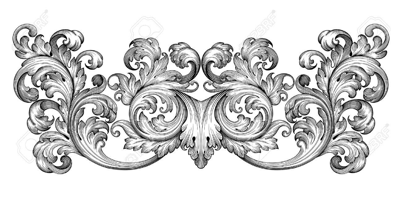 Vintage baroque frame leaf scroll floral ornament engraving border retro pattern antique style swirl decorative design element black and white filigree vector - 40701169