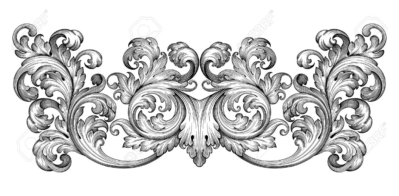 banque dimages vintage baroque dfilement leaf frame ornement floral gravure frontire rtro modle tourbillon de style ancien lment de design