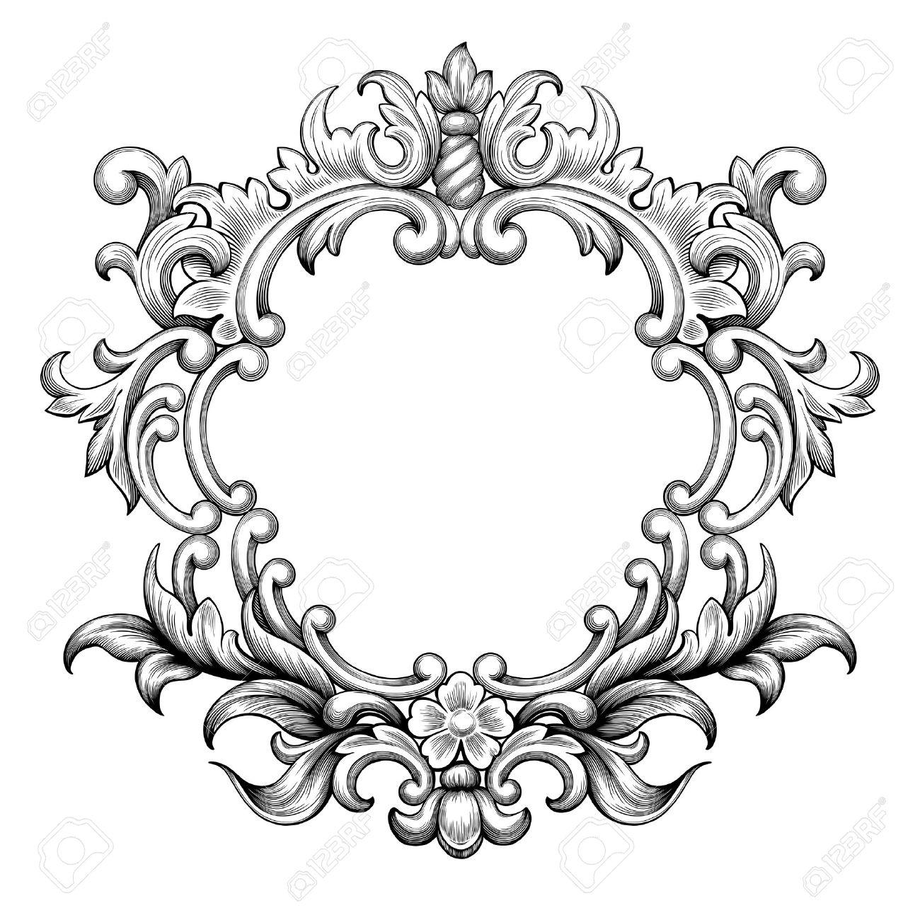 Vintage baroque frame border leaf scroll floral ornament engraving retro flower pattern antique style swirl decorative design element black and white filigree vector wedding invitation greeting card - 46103804