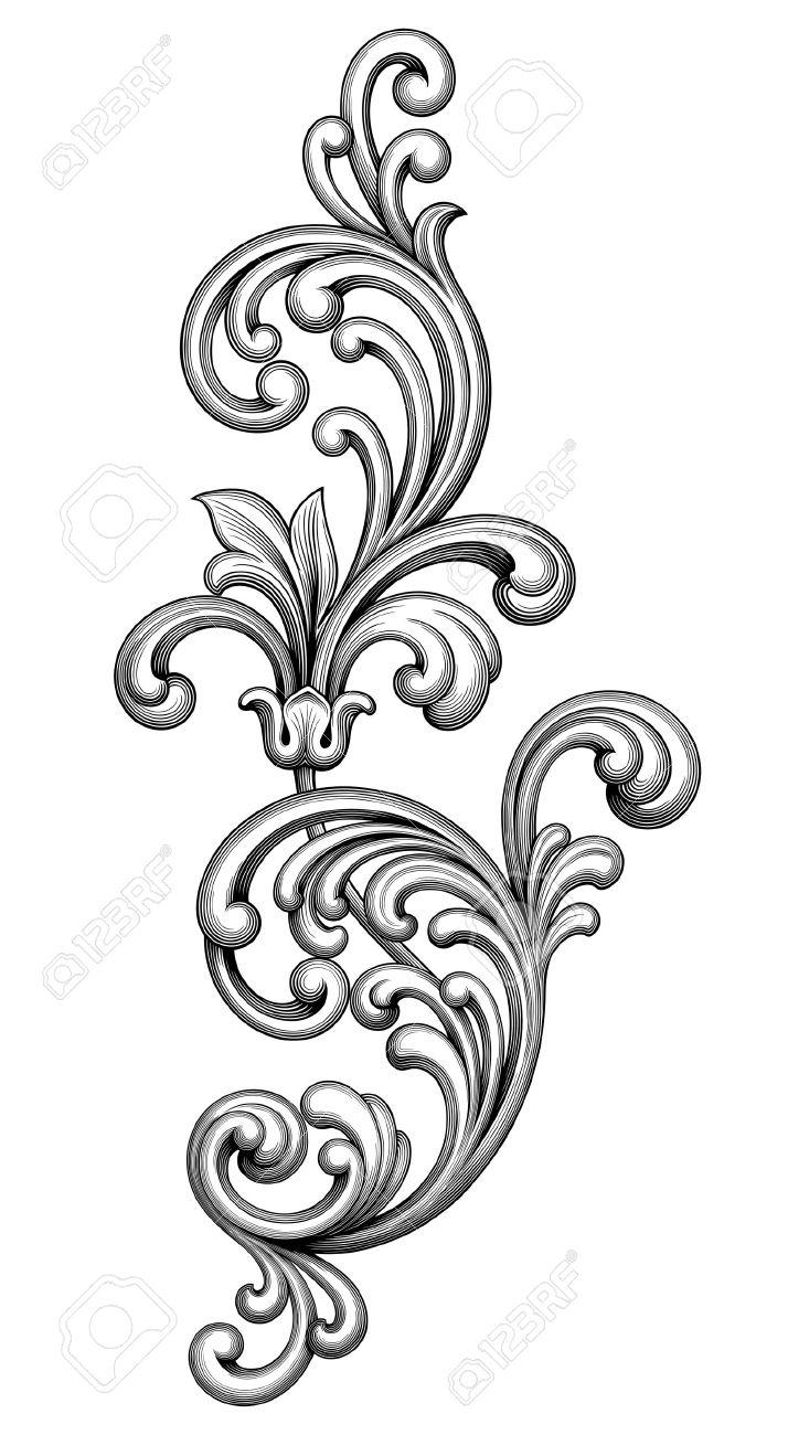 Vintage Baroque Victorian frame border monogram floral ornament leaf scroll engraved retro flower pattern decorative design tattoo black and white filigree calligraphic vector heraldic shield swirl - 51175431