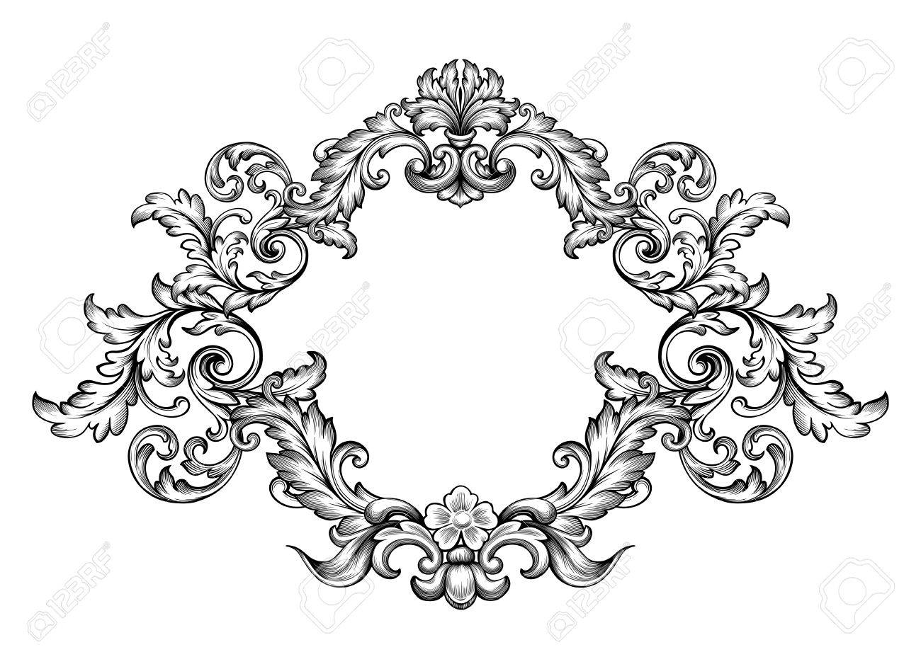 Vintage Baroque Victorian Frame Royalty Free Cliparts, Vectors, And ...