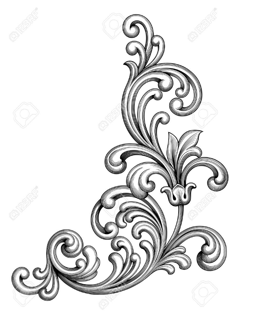 Vintage Baroque Victorian frame border monogram floral ornament leaf scroll engraved retro flower pattern decorative design tattoo black and white filigree calligraphic vector heraldic shield swirl - 52544229