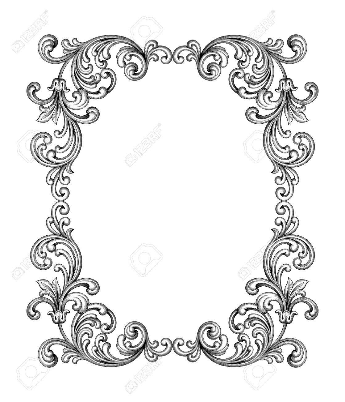 Vintage Baroque Victorian frame border monogram floral ornament leaf scroll engraved retro flower pattern decorative design tattoo black and white filigree calligraphic vector heraldic shield swirl - 55459140