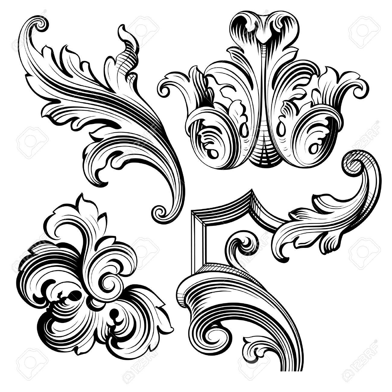 Vintage Baroque Victorian frame border monogram floral ornament leaf scroll engraved retro flower pattern decorative design tattoo black and white filigree calligraphic vector heraldic shield swirl - 58332291