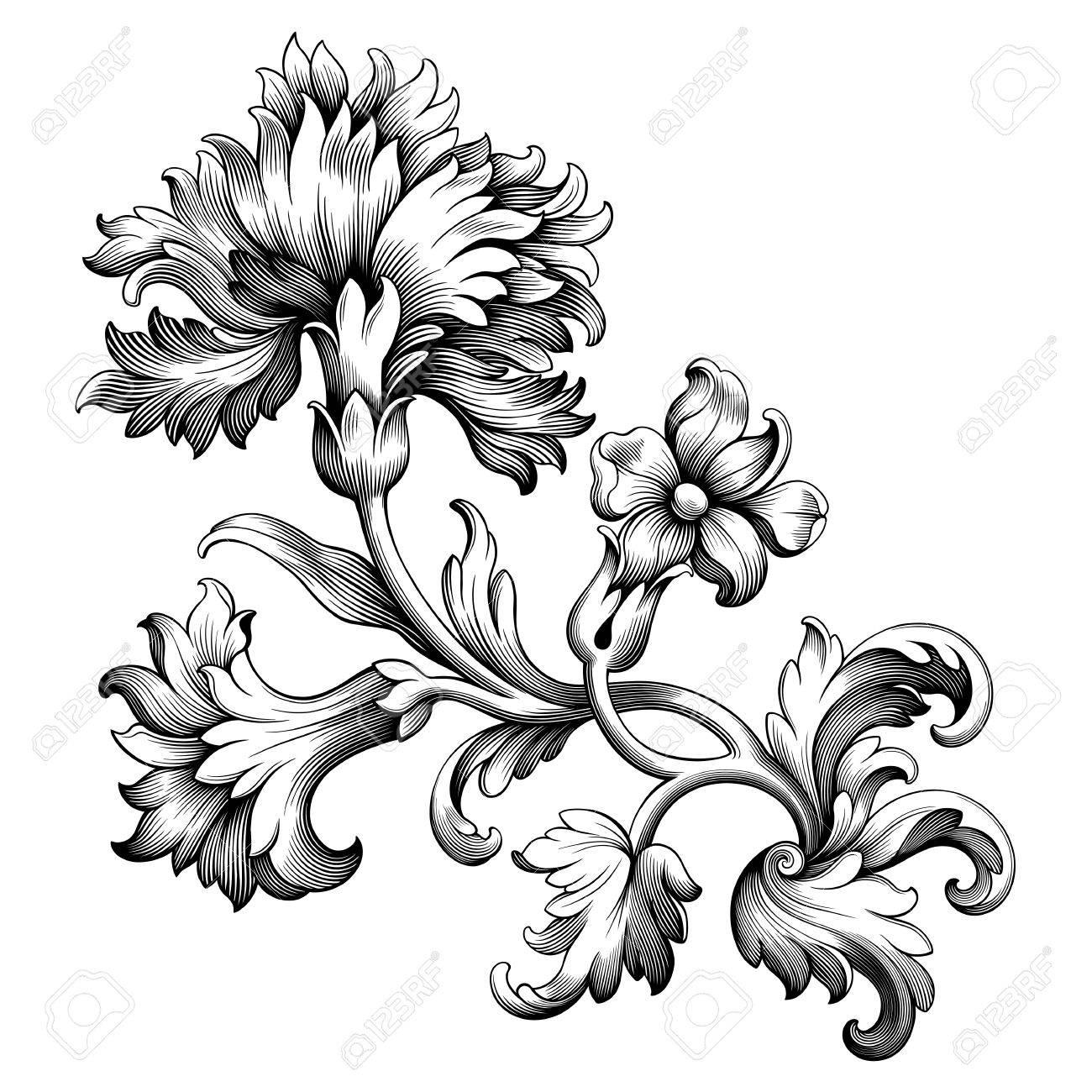 Rose Pivoine Fleur D Oeillet Vintage Baroque Victorienne Cadre