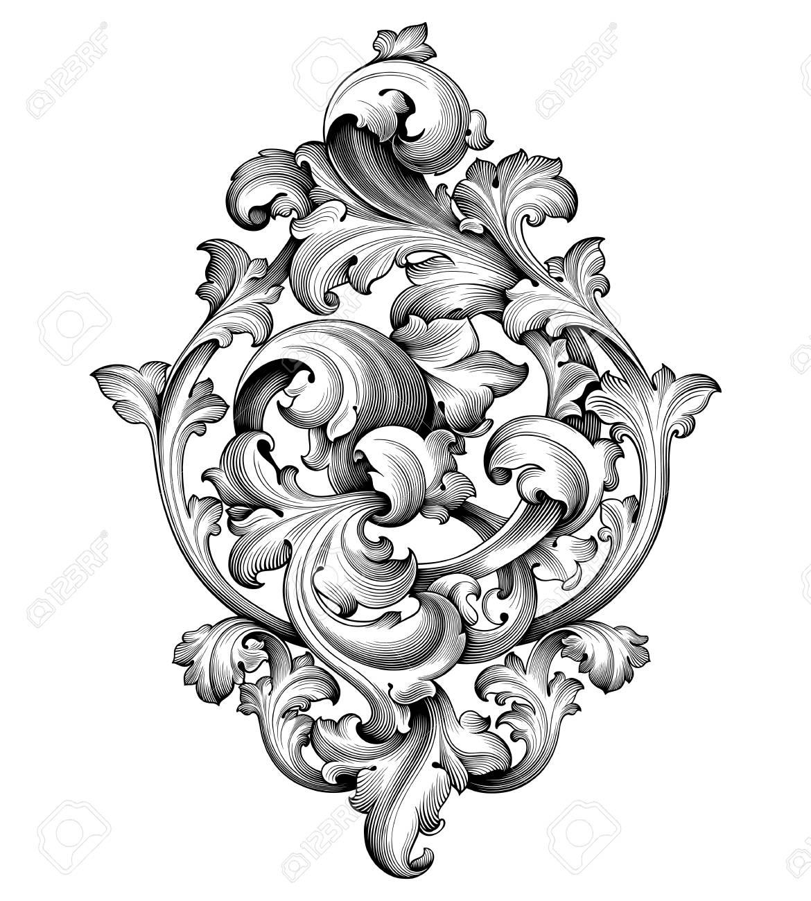 Vintage Baroque Victorian frame border corner monogram floral ornament leaf scroll engraved retro flower pattern decorative design tattoo black and white filigree calligraphic vector heraldic shield - 88306558