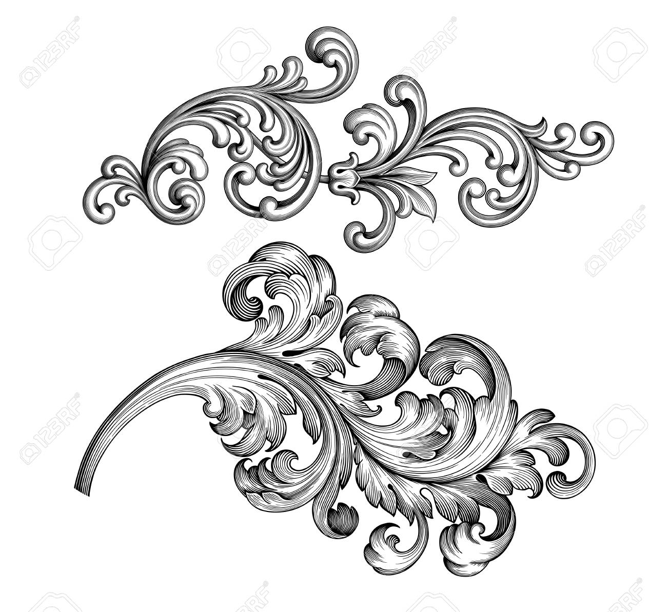 vintage frame tattoo designs. Vector - Vintage Baroque Victorian Frame Border Tattoo Floral Ornament Leaf Scroll Engraved Retro Flower Pattern Decorative Design Black And White Designs T
