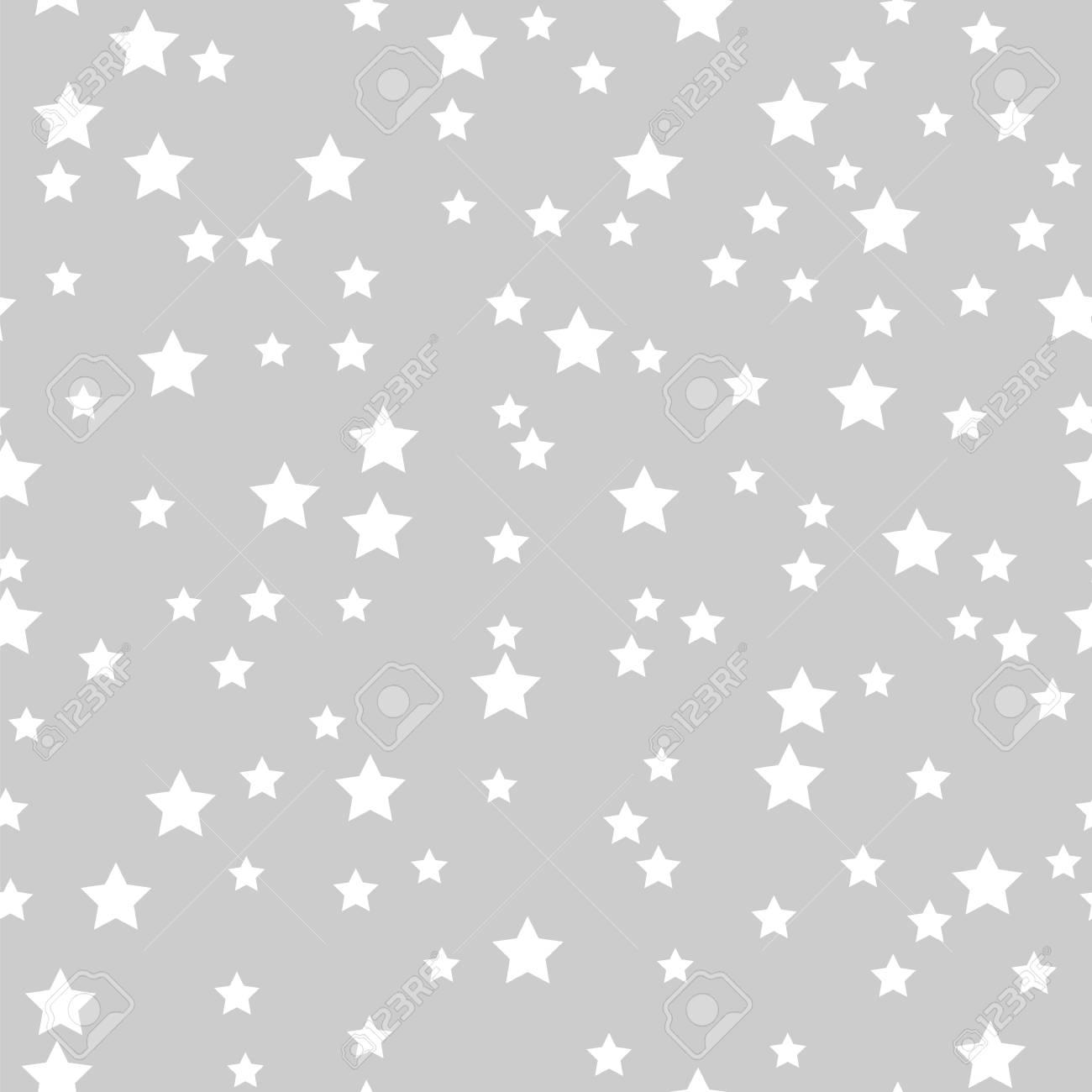 Patrón Sin Fisuras De Estrellas Blancas Sobre Un Fondo Gris ...