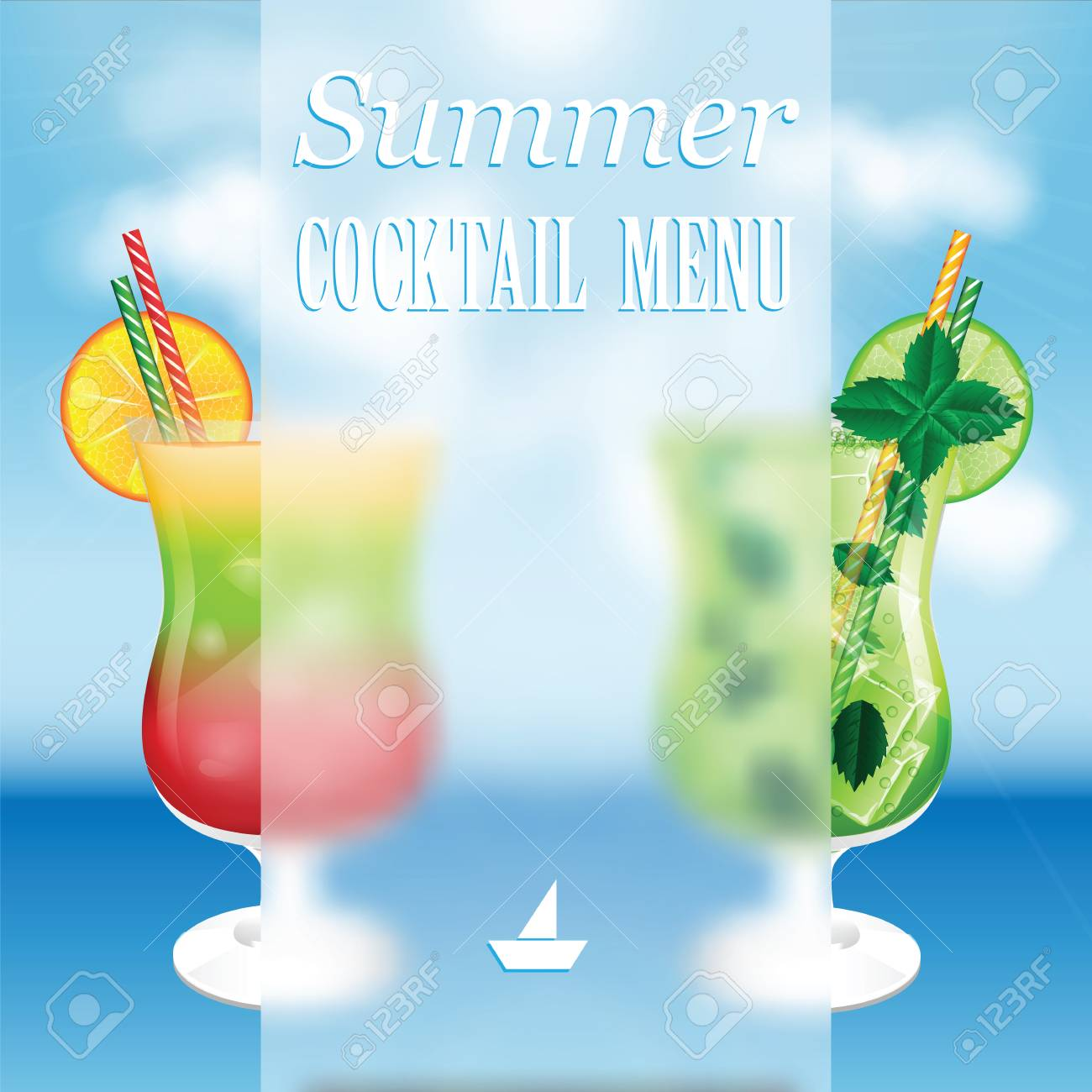 design a menu for summer drinks.summer cocktails on the background