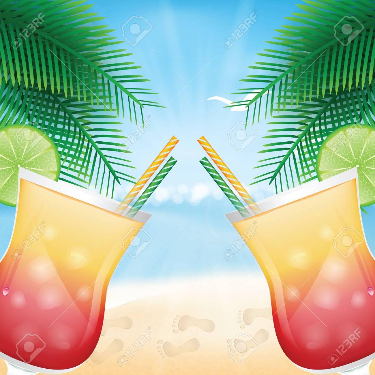 Entwerfen Sie Ein Menü Für Sommergetränke. Cocktails Auf Dem ...