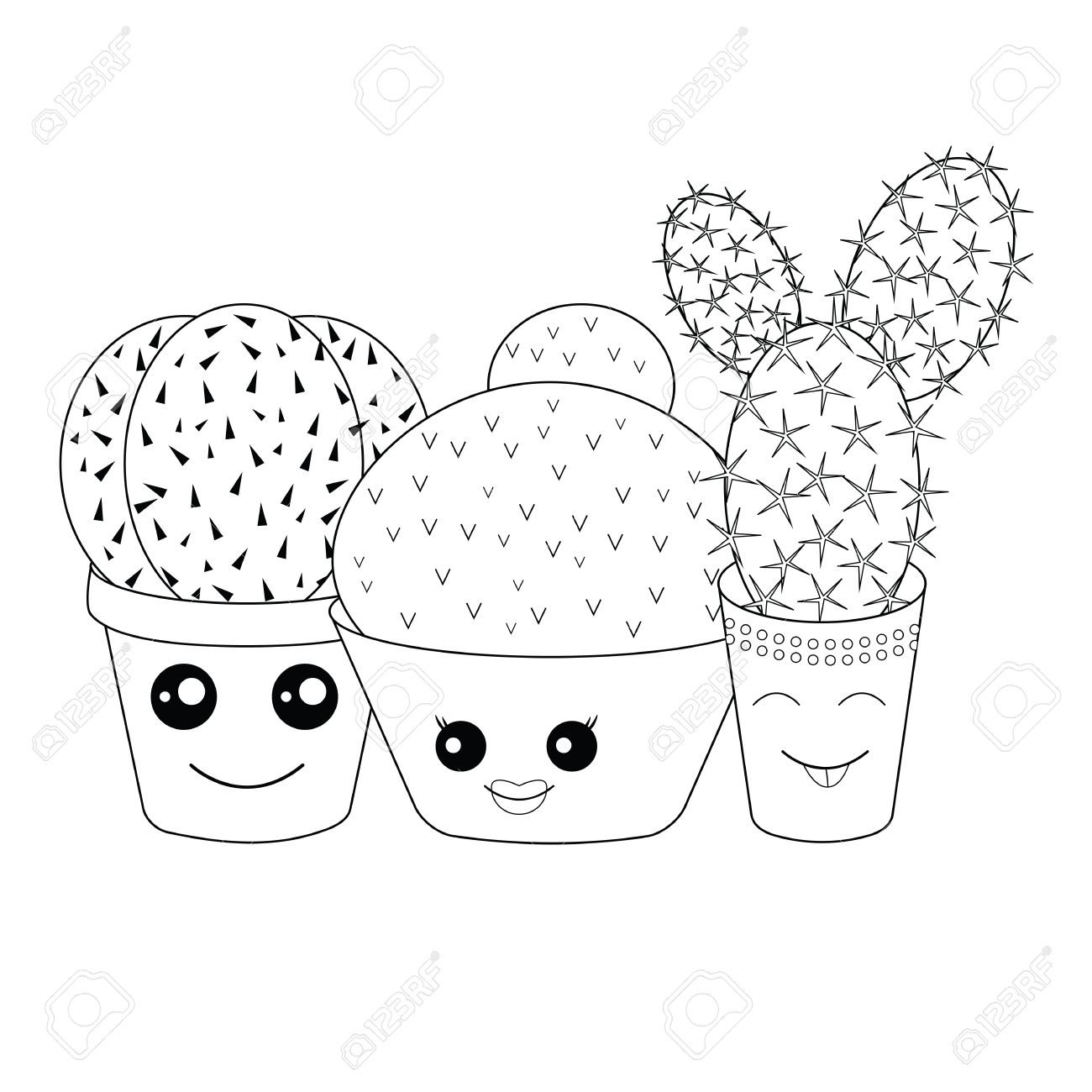 Coloring With Cacti.Coloring Page.Hilarious Family Of Cacti On ...