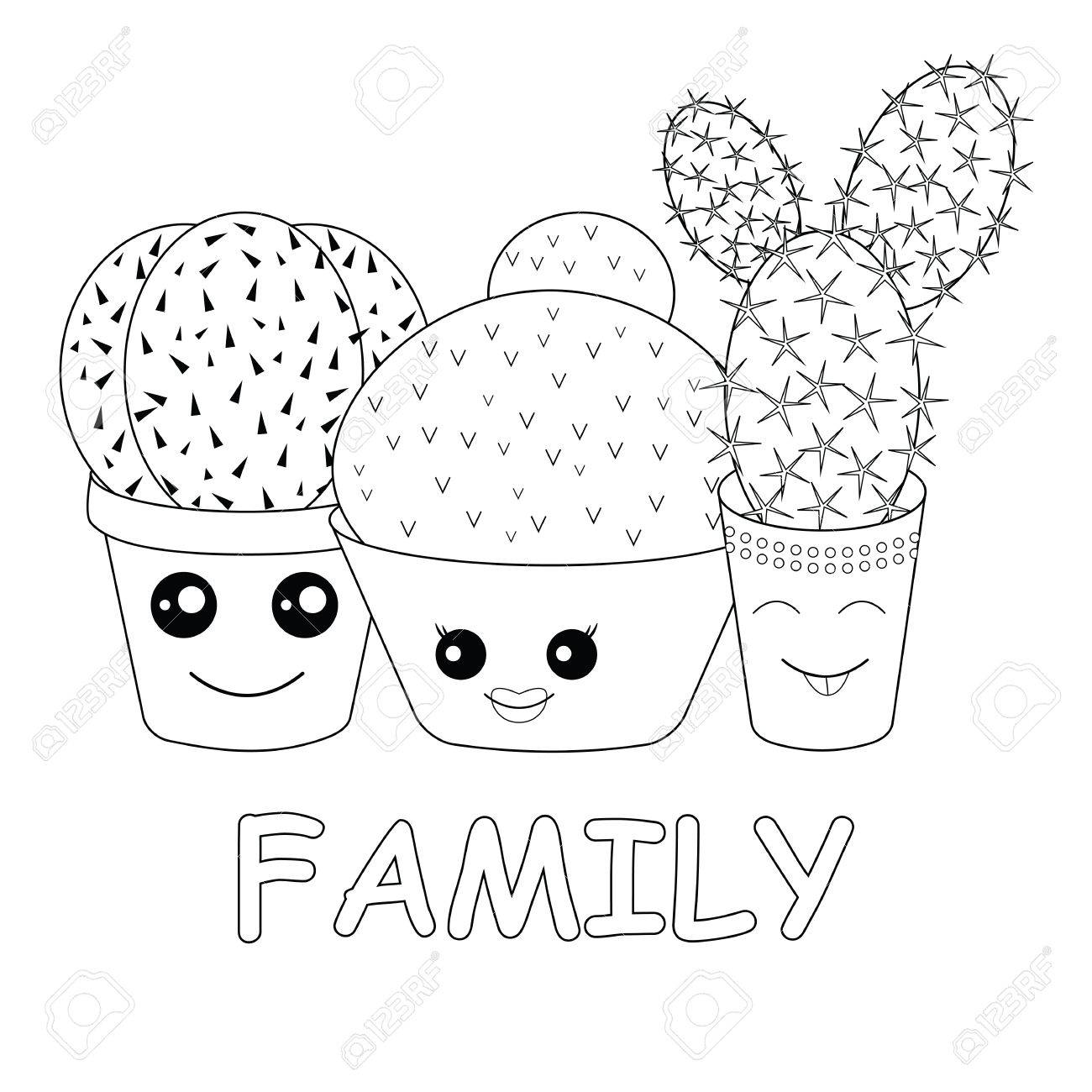 Colorear Con La Página Cactuscoloringhilarious Familia De Cactus Sobre Un Fondo Blancocádate Kawaii Cactus Sonriente Bebé Y Estilo De Los