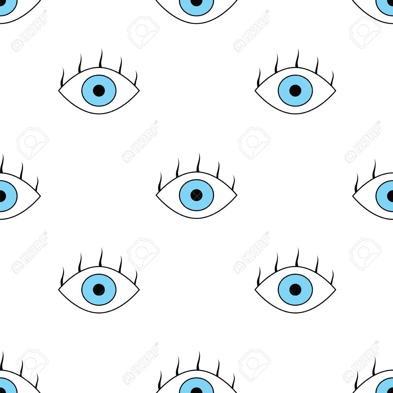 Seamless Pattern With Eyes Simple Vector Abstract Seamless