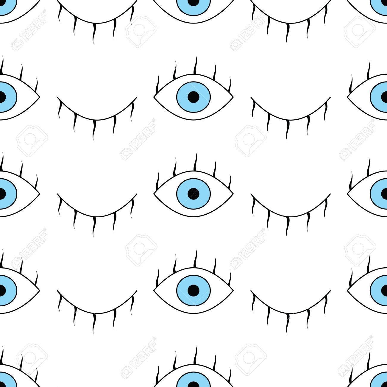 目とのシームレスなパターン 単純なベクトルの目で抽象的なシームレス パターン 目を開くとウィンク抽象的なパターン かわいいおしゃれな背景 壁紙 パターンの塗りつぶし ウェブの背景 表面のテクスチャ 繊維のシームレスなパターン のイラスト素材 ベクタ
