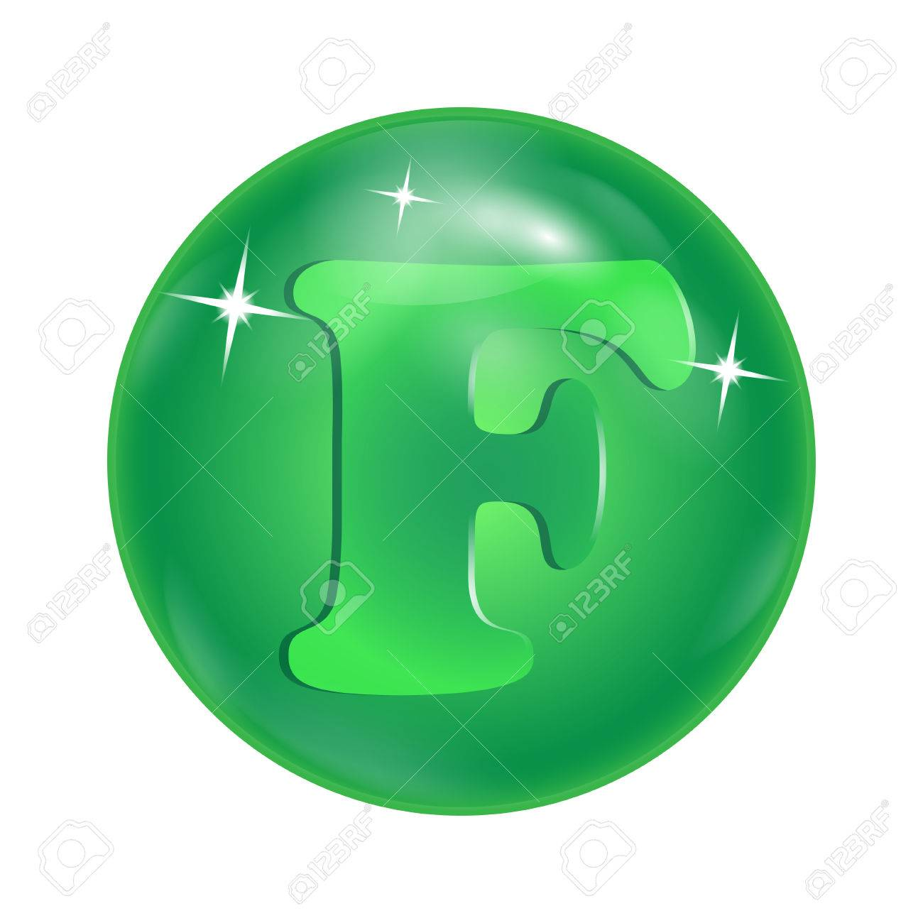 Chemical Element Symbol F In A Green Bowl Royalty Free Cliparts