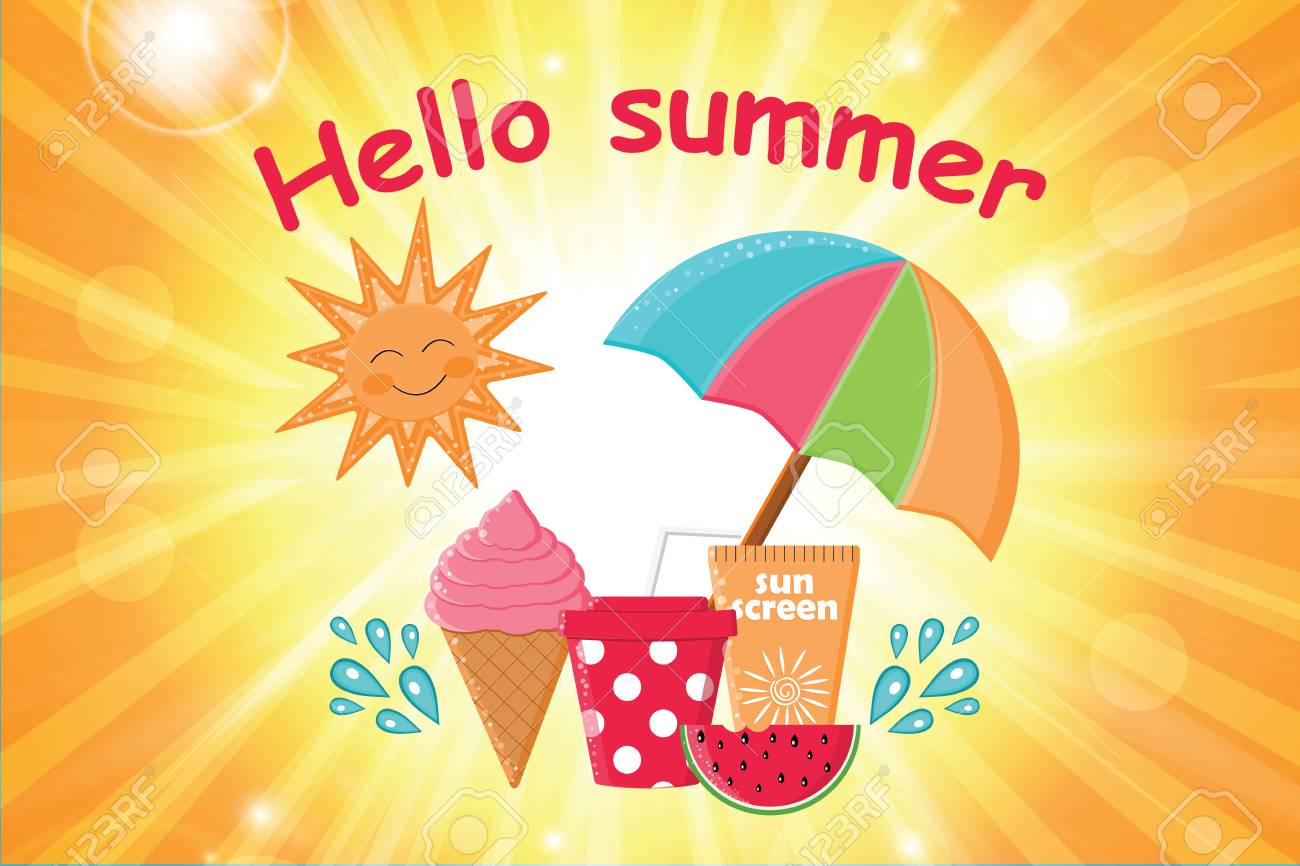 Summer Day Background Vector.Summer Poster.Summer Holidays.Hello Summer  Poster With Beach