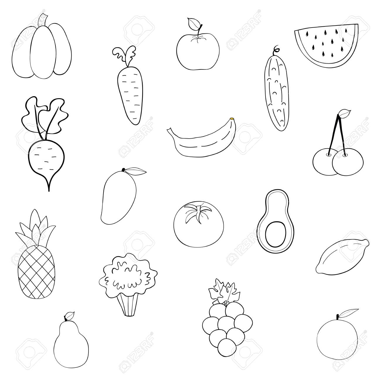 Set Of Fruits And Vegetables Cartoon Vegetable Isolated On White