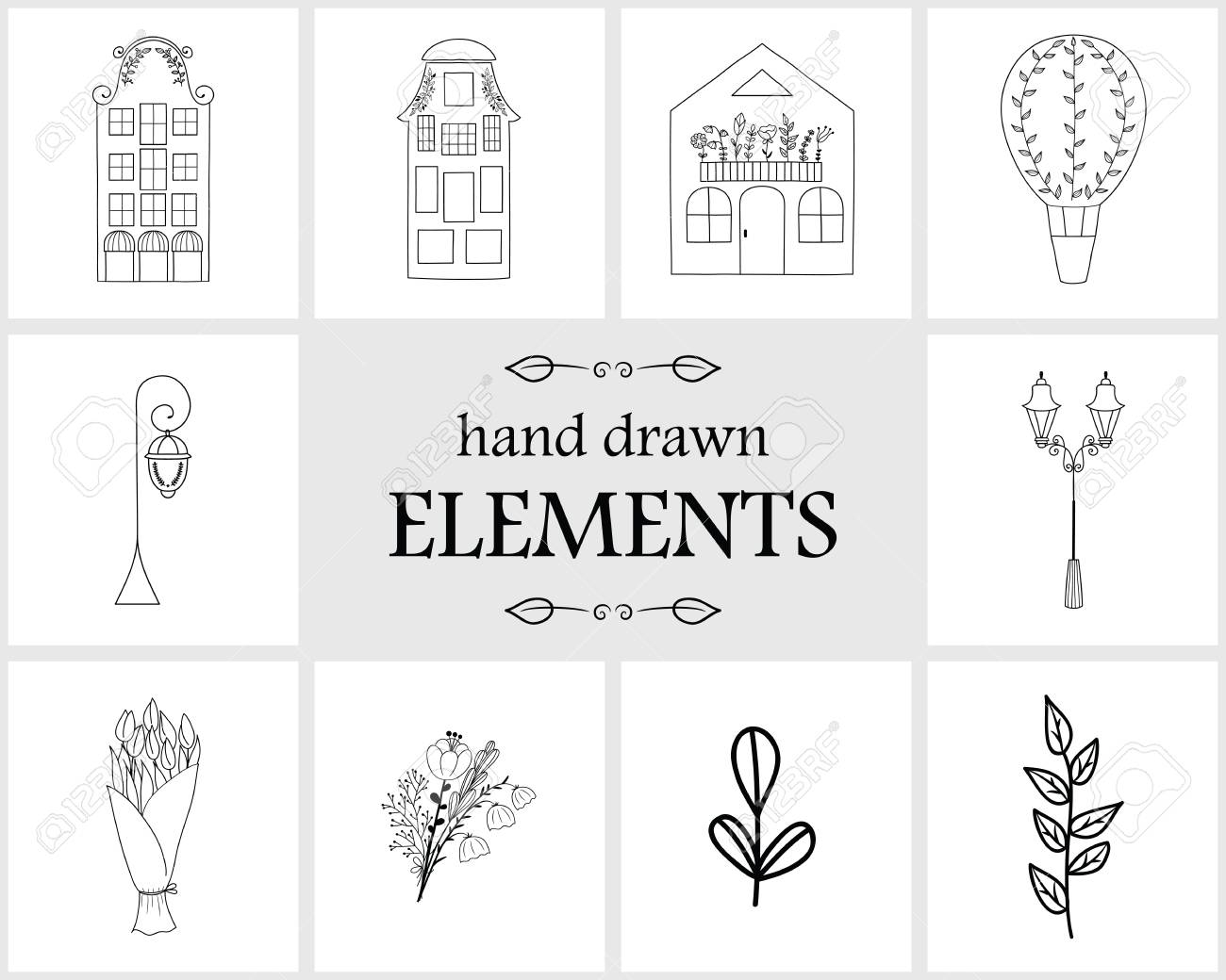 Hand Drawn Logo Elements And Icons. Hand Drawn Decorative Vector ...