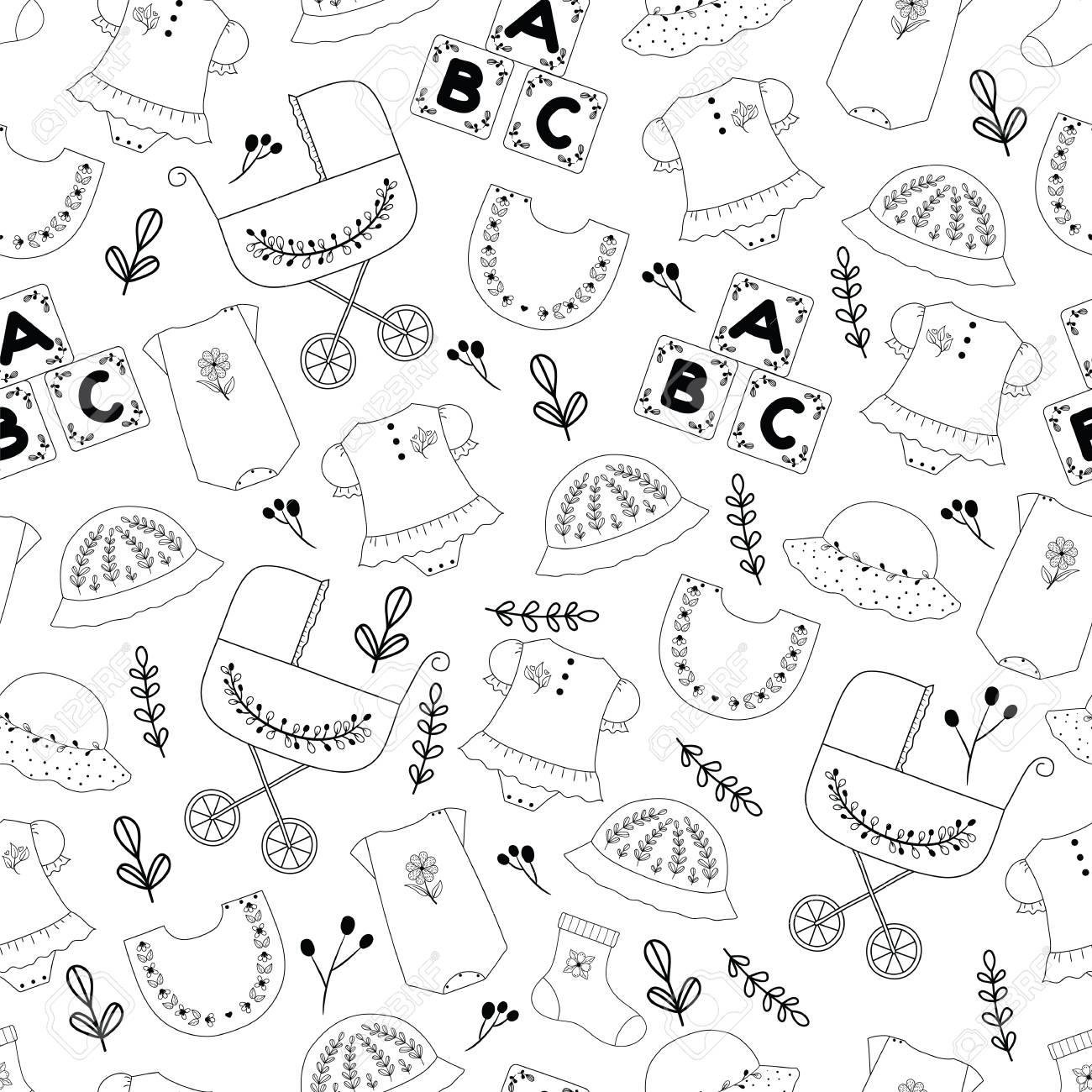 Seamless cute pattern of baby stuff. Hand drawn seamless pattern..