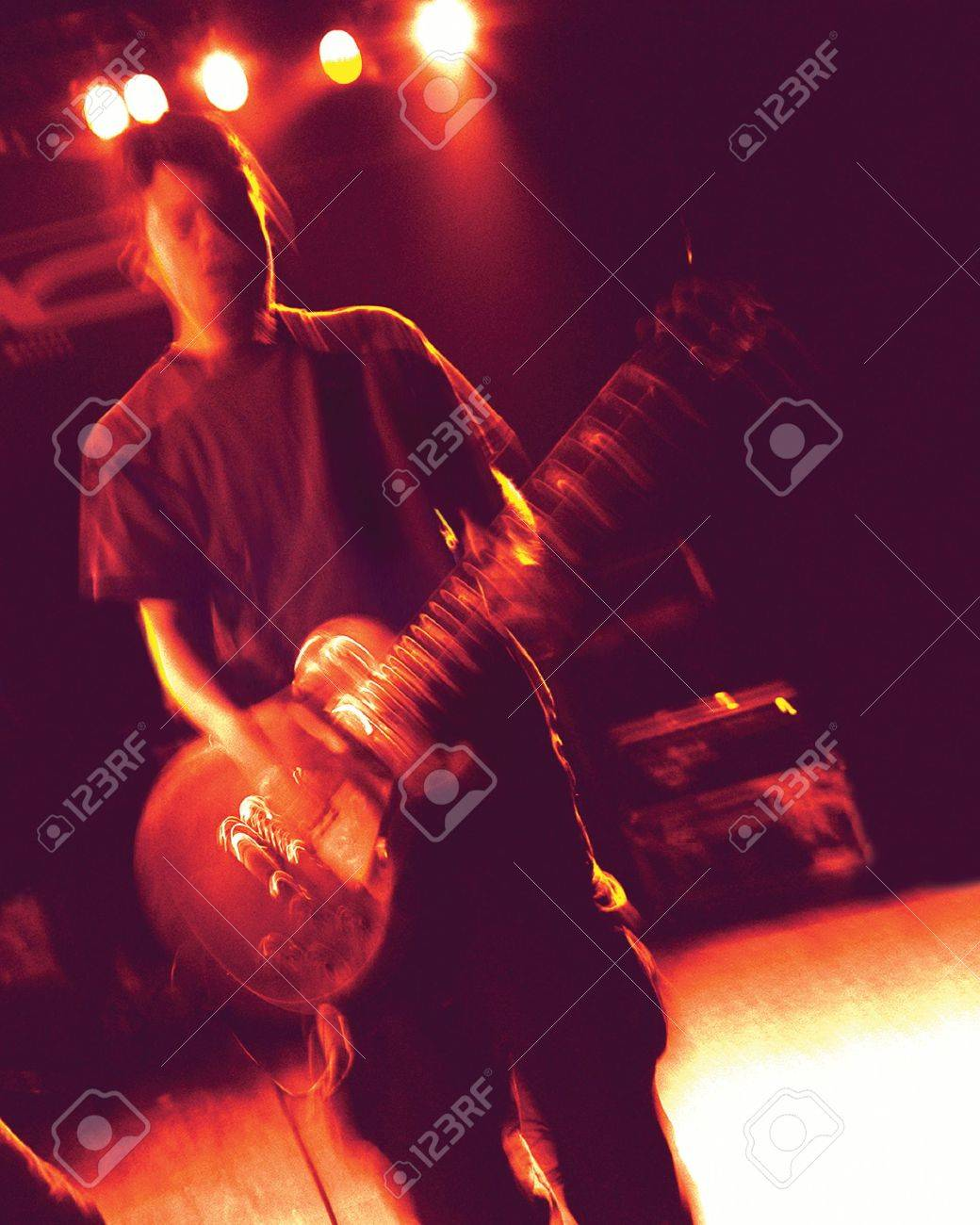 Grainy Blurry Atmospheric Abstract Noisy Hazy Image Of A Guitar