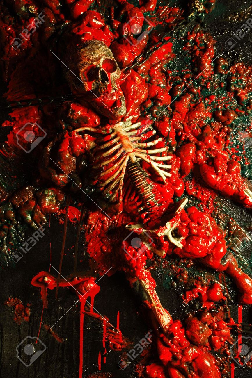 Halloween image / background of blood, bones and guts.  Sculpture was built by me from a plastic skeleton, so I hold any copyrights. Stock Photo - 1755827